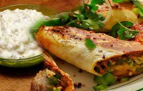 Burritos de pescado y Salsa Tzatziki